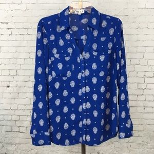 Express portofino shirt blouse blue paisley